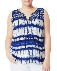 NYDJ - Moorea Sleeveless Embroidered Blouse - Lyst