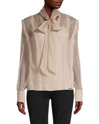 Jason Wu Pussycat Bow Dotted Blouse - Natural