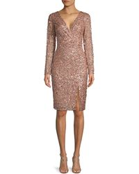 Adrianna Papell Embellished Wrap Dress - Pink