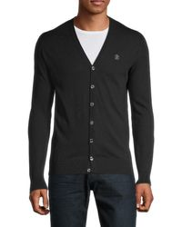 Roberto Cavalli Men's V-neck Cardigan Sweater - Nero - Size Xl - Black