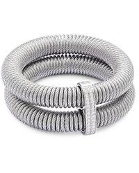 Alor - Women's Kai 18k Gold & Stainless Steel Diamond Tiered Coiled Bangle Bracelet - Lyst