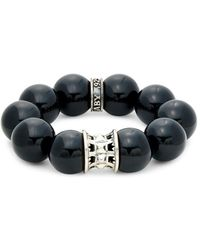 King Baby Studio Men's Black Agate & Sterling Silver Beaded Bracelet