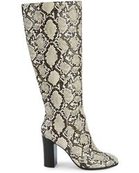 Kenneth Cole Jackie Snakeskin-embossed Knee-high Boots - Natural