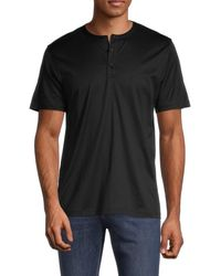 Theory Cotton Henley T-shirt - Black