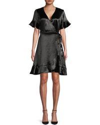 Ava & Aiden Ruffled Tie-waist Wrap Dress - Black