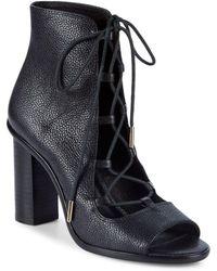 Joie - Cordelia Leather Lace-up Block-heel Booties - Lyst