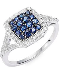 Effy - Diamond Sapphire & 14k White Gold Ring - Lyst