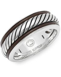 Effy Leather And Sterling Silver Band Ring - Metallic