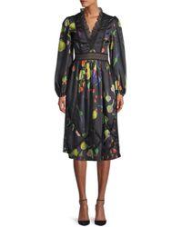 Cynthia Rowley Women's Krystal Botanical Print Dress - Black Multi - Size 2