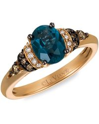 Le Vian Chocolatier®14k Strawberry Gold®, Deep Sea Blue Topaztm, Chocolate Diamond® & Vanilla Diamond® Ring
