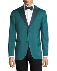 Boglioli Men's Lapel Virgin Wool Single-breasted Blazer - Aqua - Size 54 (44) R - Green