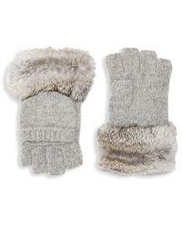 Adrienne Landau Rabbit Fur Pull On Gloves - Grey