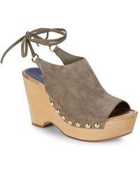 Diane von Furstenberg - Bali Wood Wedge Sandals - Lyst