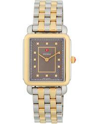 Michele Deco Ii Diamond Two-tone Stainless Steel Bracelet Watch - Metallic