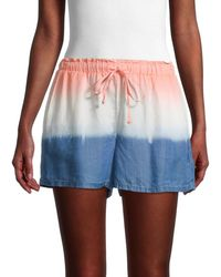 Pure Navy Women's Dip-dyed Drawstring Shorts - White Blue - Size Xl