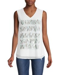 NIC+ZOE Tropic Party Embellished Sleeveless Top - White