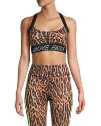 Pam & Gela - Women's Leopard-print Sports Bra - Natural - Size Xs - Lyst