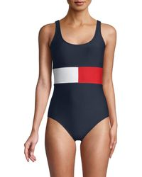 Tommy Hilfiger Iconic Logo Color-blocked One-piece Swimsuit - Blue