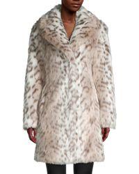 Karl Lagerfeld Snow Leopard-print Faux Fur Coat - Multicolour