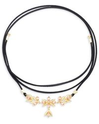Noir Jewelry Women's Glass Stone Pierrette Choker Necklace - Metallic