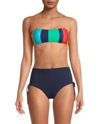 Sperry Top-Sider Women's Striped Bandeau Lace-up Bikini Top - Size S - Blue