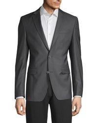 Versace Men's Modern Fit Textured Mini Checker Wool Sport Jacket - Grey - Size 54 (44) L