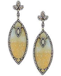 Artisan 18k Gold, 925 Sterling Silver, Agate & Diamond Drop Earrings - Metallic