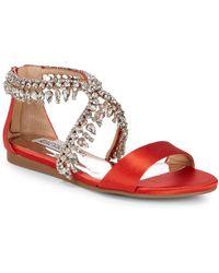 Badgley Mischka - Tristen Leather Slide Sandals - Lyst