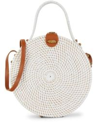 Collection 18 Women's Round Rattan Top Handle Bag - Natural