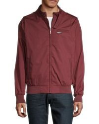 Members Only Men's Iconic Racer Jacket - Burgundy - Size L - Red