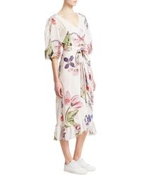 Ganni Women's Printed Mesh Ruffled Wrap Dress - Bright White - Size 36 (4)