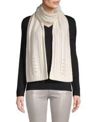 Badgley Mischka Pearl Embellished Fishtail Knit Scarf - White