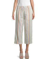 Beach Lunch Lounge Margot Crop Stripe Linen Trousers - Multicolour