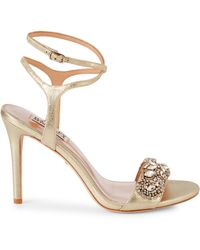 Badgley Mischka Hailey Embellished Strappy Sandals - White