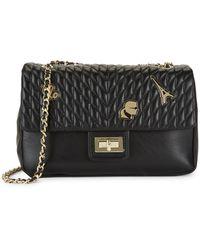 Karl Lagerfeld Agyness Quilted Leather Shoulder Bag - Black
