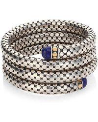 John Hardy - Batu Dot Lapis Lazuli, 18k Yellow Gold & Sterling Silver Triple Coil Bracelet - Lyst