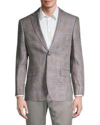 Tommy Hilfiger Regular-fit Linen Windowpane Blazer - Grey