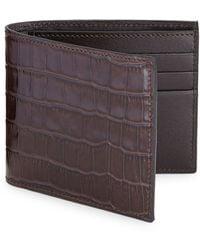 Saks Fifth Avenue Printed Croc Leather Card Case - Black
