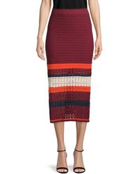 Free People Knitted Colorblock Cotton Skirt - Red
