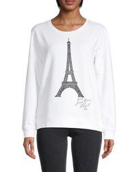 Karl Lagerfeld Eiffel Tower Cotton-blend Sweatshirt - White