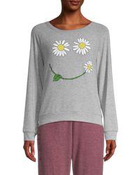 Lauren Moshi Women's Graphic Cotton-blend Sweatshirt - Heather Grey - Size M