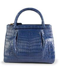 Nancy Gonzalez Medium Crocodile Leather Top Handle Bag - Blue