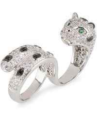 CZ by Kenneth Jay Lane Silvertone & Cubic Zirconia Panther Double-finger Ring - Multicolour
