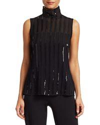 Akris Punto Sequin Stripe Silk Georgette Turtleneck Top - Black