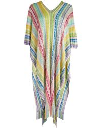 Missoni Multicolor Stripe Fringe Poncho