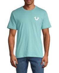 True Religion Men's Logo-print Crewneck T-shirt - Lichen Blue - Size S