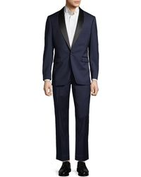 Saks Fifth Avenue Extra Slim Fit Wool Tuxedo - Blue