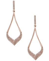 Effy - Diamond And 14k Rose Gold Dangle Earrings, 0.33 Tcw - Lyst