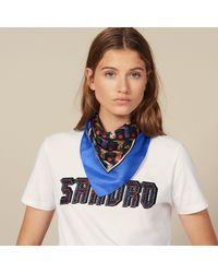 Sandro Foulard en soie imprimé mini santiag - Bleu