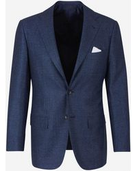 Kiton Wool, Linen And Silk Suit - Blue